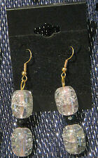 Gold coloured metal earrings with pretty bubbled beads