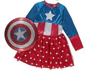 50% OFF!AUTH GEORGE MARVEL AMERICAN DREAM GIRL DRESS COSTUME +HAIR SET 9-10Y £14