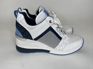 Michael Kors Georgie Trainer Wedge Womans Sneakers Blue & White Size 6.5 M (F)