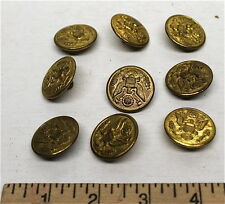 Vintage U.S. Army Buttons 8 Pc Lot Brass Eagle Emblem Military Uniform by UAM Co