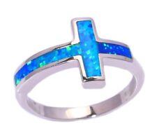 NEU Schicker 925  Silber-Ring mit blauem Feuer-Opal, Gr. 9/19
