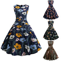 Womens 50s Rockabilly Swing Dress Vintage Hepburn Pinup High Waist Dresses Party