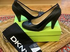 DKNY VICKY VULCANIZED PUMPS BLACK KIDSKIN LEATHER 8.5 M HEELS CLOSED TOE NEW