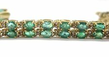 Fine 14Kt Gem Emerald Diamond Bracelet & Earrings 15.50CT