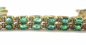 Two Row Green Emerald Diamond Yellow Gold Tennis Bracelet & Earrings 14K 15.50Ct