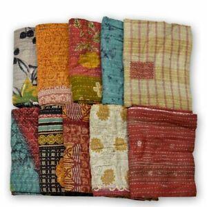Handmade Quilt Indian Vintage Kantha Bedspread Throw Cotton Pack of 1 Blanket