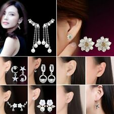 925 Silver Flower Star Pearl Tassel Zircon Earrings Stud Women Bangle Jewelry