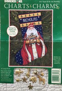 Santa & Ark Christmas Stocking Dimensions Charts & Charms Cross Stitch PATTERN**