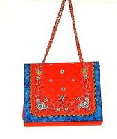 Diane Gilman Women's Satchel Silk Shoulder Bag Red/Blue with Change Purse NWOT