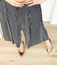 WITCHERY WOMENS VISCOSE SKIRT LINED STRIPED BLUE WHITE SUMMER WORK PARTY SZ 12