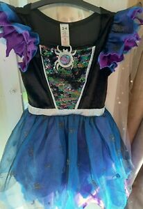 GIRLS SIZE 3-4 YEARS PURPLE & BLUE SPARKLY SPIDER & WITCH COSTUME GOOD CONDITION
