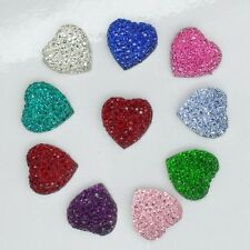 10 x Bright Resin Bling Hearts 15 mm - Bling Your Phone / Hair Clip / Crafts
