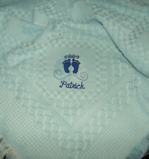 Personalised Deluxe Baby Shawl Blanket Blue With BabyFeet Motif newborn, gift