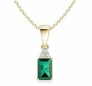 1.38Ct Natural Zambian Emerald With IGI Certified Diamond Pendant In 14KT Gold