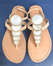MYSTIQUE 7 Jeweled Mother of Pearl Leather Thong Espadrille Ankle Strap Sandals
