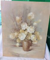 "Oil On Canvas , Still Life Flowers, Artist Signed Nicholas,  16. X 20""."