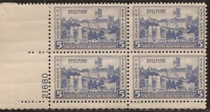 US Stamp - 1937 5c Army-Navy West Point - 4 stamp Plate Block - Scott #789
