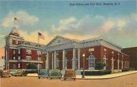 Geneva New York~US Post Office~City Hall~1943 Linen Postcard~Cars