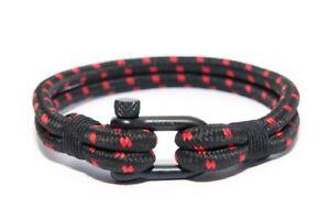 Frank 1967 Binding Ropes Maritim Shackle Men's Bracelet Black/Red B0139