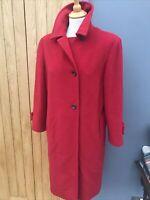 Ladies RED MARELLA Max Mara Coat PURE Wool & ANGORA Coat Jacket UK 6-12 upto 38'