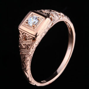 Vintage Antique 3mm Cubic Zirconia Round Engagement Ring Solid 14K Rose Gold