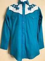 Eli Diamond Men Size S Green Western Shirt Pearl Snap Long Sleeve NOS