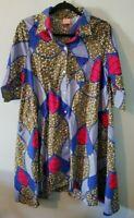 World Market Asha Women's Size S/M Multicolored Print Hi Lo Button Front Dress
