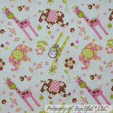 BonEful FABRIC Cotton Quilt White Pink Elephant Giraffe Flower Bird Girl L SCRAP