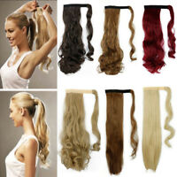 Women Clip in Ponytail Hair Extension Straight Curly Wrap Around Ponytail  New