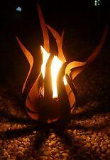 Edelrost Blume 51cm Feuerblume Garten Fackel Metall Deko  Windlicht Schale Rost