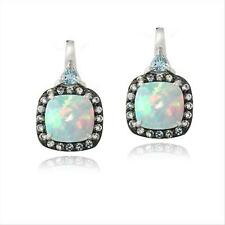 925 Silver Lab Created White Opal & Blue Topaz Square Drop Earrings