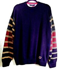 Tommy Hilfiger Sweater Blue w/ Crest Logo Striped Colorblocked Sleeves Mens XL