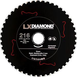 LXDIAMOND Hartmetall Sägeblatt 216mm x 30,0mm für Eisen Stahl Edelstahl V2A V4A