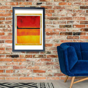 Mark Rothco - Violet Black Orange Yellow on White and Red Wall Art Poster Print