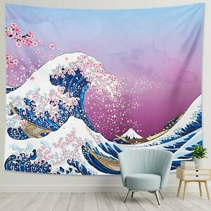 DESIHOM Japanese Tapestry Kanagawa Great Wave Tapestry Anime Tapestry Pink Ch...