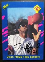 1990 Classic Deion Sanders Authentic Signed Autograph Yankees Rookie Card RARE