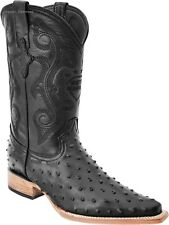 Men's White Diamonds Ostrich Print Cowboy Western Boots 3X Pointy Toe Handmade