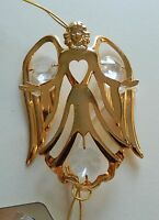 Ornament- ANGEL with heart- Austrian Crystals- 24K gold plated- clear