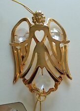 Ornament-Angel with heart- Austrian Crystals-24K gold plated-clear