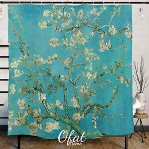 Ofat Home Aprikose Blume Duschvorhang Badezimmer Dekor Rot 72x72