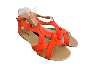 Grosby Size 9 Women's Orange Strappy Comfort Sandals