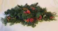 Vtg Christmas Candle Ring Centerpiece Pinecones Apples Boughs