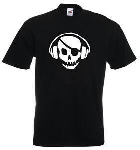 Music DJ Skull Crossbones Headphones Clubbing phones mens Dance Pirate TSHIRT