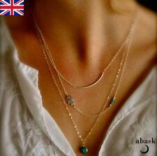 Hamsa Hand Hand Of Fatima Evil Eye Gold Multi Layered Turquoise Necklace UK 2018