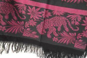 Cheetah scarf wrap shawl blk purple 68x24 oblong rectangle fringe runner MINT