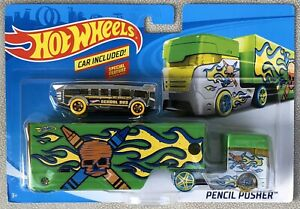 Hot Wheels Pencil Pusher Green Hauler With Chrome Silver Bus - MIP