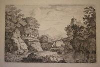 Ecole FRANCAISE XVIII GRAVURE EAU FORTE PAYSAGE RIVIERE PONT CHATEAU 1700-1750