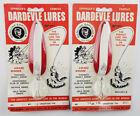 2 New Eppinger Dardevle® Vintage Spoons #16 RED/WHT 1oz NOS Lures on Card[M78-4]