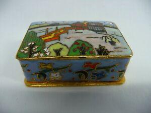 Antique Chinese Asian Oriental Enamel Cloisonne Snuff Box Case Pill Box