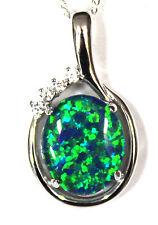 Australian Natural Black Triplet Opal Pendant Solid Sterling Silver FreeNecklace